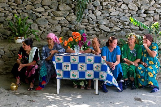 Wedding guests at Pamiris, Bartang valley, Tajikistan, Central Asia : Stock Photo