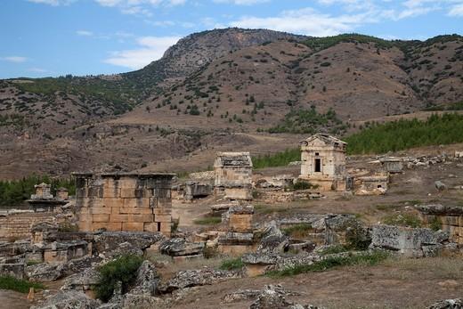 Burying place, Hierapolis, Pamukkale, Denizli, Turkey, Asia : Stock Photo