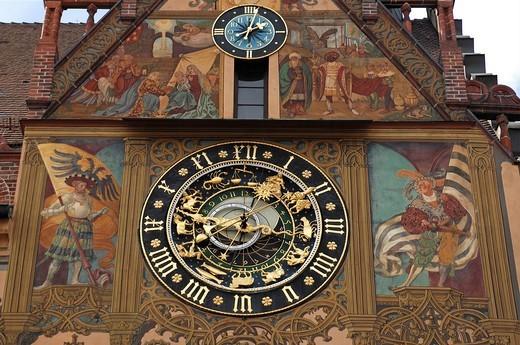 Stock Photo: 1848-531723 Astronomical Clock, 1581, on the city hall, Marktplatz 1, Ulm, Baden_Wuerttemberg, Germany, Europe