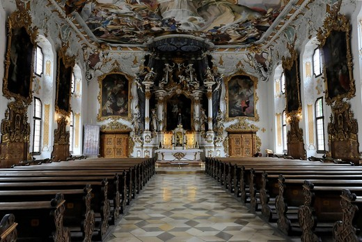 Interior view of Asamkirche church, St. Maria de Victoria church, Ingolstadt on the Danube river, Bavaria, Germany, Europe : Stock Photo