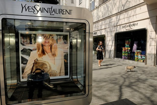 Stock Photo: 1848-531786 Yves Saint Laurent, designer boutique, Kudamm or Kurfuerstendamm 52, Charlottenburg, Wilmersdorf district, Berlin, Germany, Europe