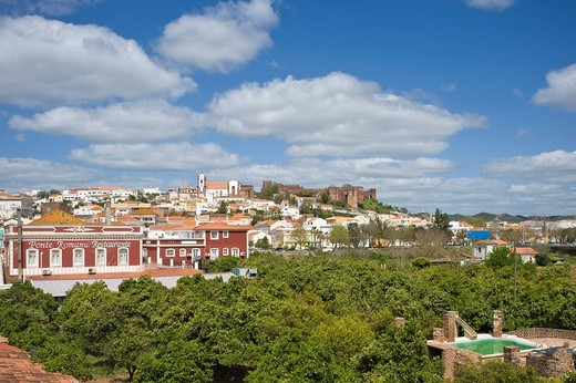 Stock Photo: 1848-531800 Cityscape with Sé Cathedral and Castelo, Silves, Algarve, Portugal, Europe