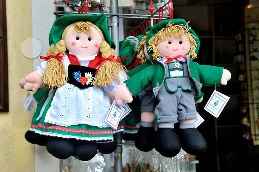Dolls in a typical Austrian traditional costume, Hallstatt, Salzkammergut, Upper Austria, Austria, Europe : Stock Photo