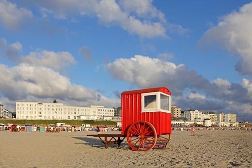 Bathing machine on the main beach, Borkum Island, an East Frisian Island, Eastern Friesland, Lower Saxony, Germany, Europe : Stock Photo