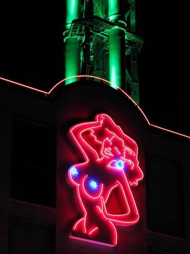 Stock Photo: 1848-531919 Female nude, neon sign, brothel in Duisburg, North Rhine_Westphalia, Germany, Europe