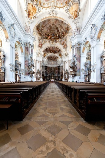 Stock Photo: 1848-532017 Interior of the Basilica of Ottobeuren Abbey, Diocese of Augsburg, Ottobeuren, Upper Swabia, Lower Allgaeu, Bavaria, Germany, Europe