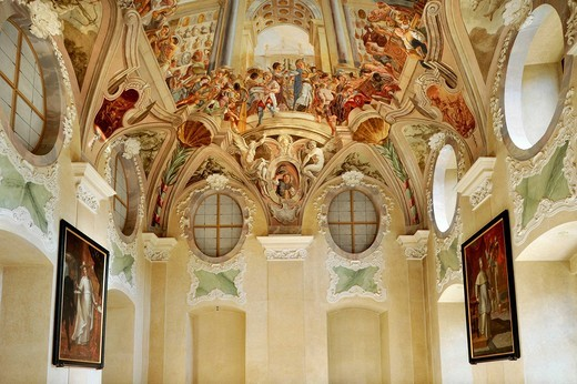 Stock Photo: 1848-532031 Ceiling fresco, The Heavenly Banquet by Siard Nosecký, Summer Refectory, Strahov Monastery, Prague, Bohemia, Czech Republic, Europe