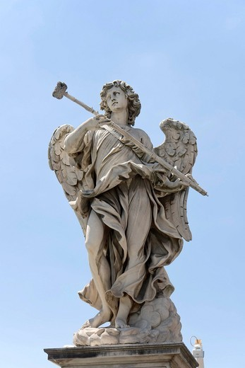 Stock Photo: 1848-532237 Angelo con la spugna, Angel with the sponge, by Antonio Giorgetti, one of the ten statues of angels with symbols of the Passion, Statue di angeli con i simboli della Passione, design by Bernini, Ponte Sant´Angelo, Angels bridge, Rome, Latium, Italy, Europ