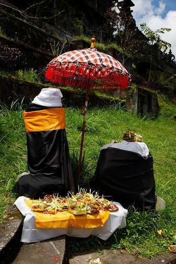 Stock Photo: 1848-53227 Sacrifical stones with offerings, Hindu New Year Festival, Pura Besakhi, held every 10 years, at Agung volcano, 2567m, Bali, Republic of Indonesia, Asia