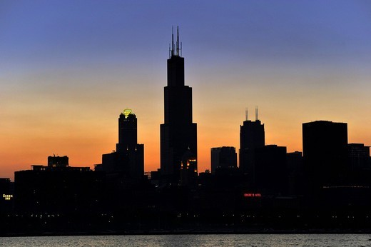 Evening mood, sunset, Willis Tower, formerly named Sears Tower and renamed in 2009, 311 South Wacker Drive skyscraper, skyline, Chicago, Illinois, United States of America, USA : Stock Photo