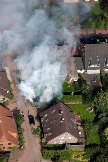 Aerial view, mattresses fire, Rumeln, Rheinhausen, Duisburg, Ruhrgebiet region, North Rhine_Westphalia, Germany, Europe : Stock Photo