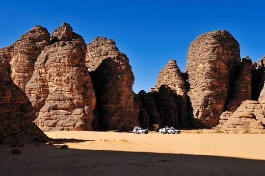 Sandstone rock formation at Tikobaouine, Tassili n´Ajjer National Park, Unesco World Heritage Site, Wilaya Illizi, Algeria, Sahara, North Africa : Stock Photo