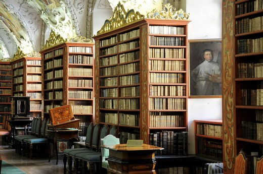 Very old books, library, hall of theology, Strahov Monastery, Hrad&269,any, Castle District, Prague, Czech Republic, Europe : Stock Photo