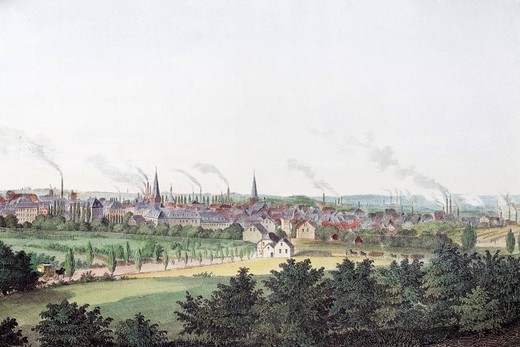 View of Essen, about 1860, historic cityscape, steel engraving created in the 19th century, North Rhine_Westphalia, Germany, Europe : Stock Photo