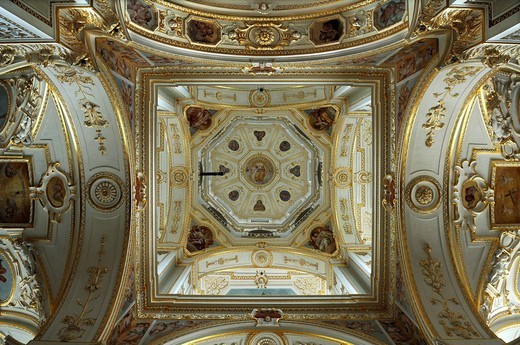 Stock Photo: 1848-533017 View into the dome of the baroque Basilica of St. Lorenz, 1652 _ 1748, stucco by Giovanni Zuccalli, frescoes by Andrew Asper, Kempten, Bavaria, Germany, Europe