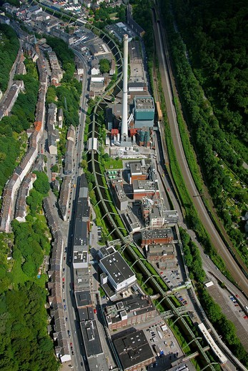 Aerial view, suspended monorail, Bayer Werk plant, Friedrich_Ebert_Strasse street, Selmaweg street, Bayer Schering Pharma AG, a German pharmaceutical company, Wuppertal, North Rhine_Westphalia, Germany, Europe : Stock Photo
