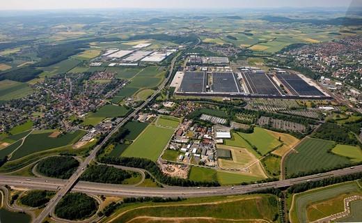 Aerial view, Volkswagen Group factory, Kassel, Hesse, Germany, Europe : Stock Photo