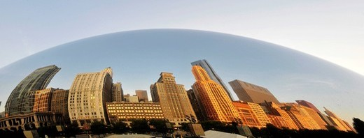 Reflection of the Chicago skyline with the Legacy at Millennium Park Building, The Heritage and the Pittsfield Building in the Cloud Gate sculpture, The Bean, by Anish Kapoor, AT & T Plaza, Millennium Park, Chicago, Illinois, United States of America, USA : Stock Photo