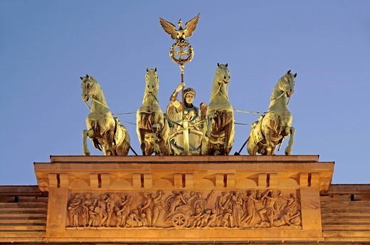 Quadriga, Brandenburg Gate, Berlin, Germany, Europe : Stock Photo