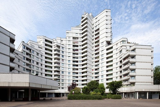 Residential tower, Gelsenkirchen, Ruhr Area, North Rhine_Westphalia, Germany, Europe : Stock Photo