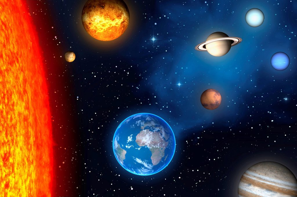 Solar system, 3D illustration : Stock Photo