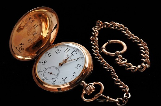 Longines gold plated pocket watch with chain, five to twelve, 19th century : Stock Photo