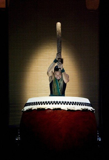 Stock Photo: 1848-534064 Yamato _ The Drummers of Japan performing the program Matsuri, concert in the Circus Krone building, Munich, Bavaria, Germany, Europe