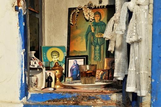 Shrine, Orthodox chapel, Ouranopoli, Halkidiki, Greece, Europe : Stock Photo