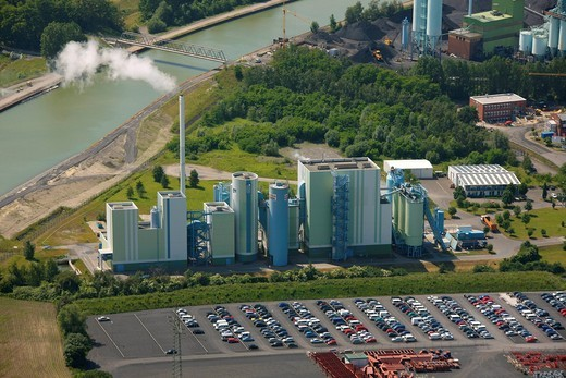 Aerial view, Innovatherm plant, Trianel coal power plant, Stadthafen harbour, Datteln_Hamm canal, Luenen, Ruhrgebiet area, North Rhine_Westphalia, Germany, Europe : Stock Photo