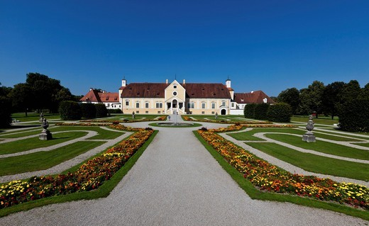 View of the Altes Schloss Schleissheim castle with castle gardens, Oberschleissheim near Munich, Upper Bavaria, Bavaria, Germany, Europe : Stock Photo