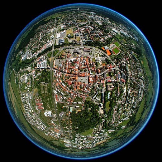 Aerial view, fisheye, globe panorama, historic downtown, Namesti T. G. Masaryka, Liberec, Czech Republic, Europe : Stock Photo