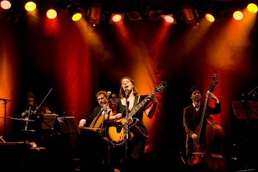 The Swiss singer_songwriter Priska Zemp aka Heidi Happy live in the Schueuer concert hall, Lucerne, Switzerland : Stock Photo