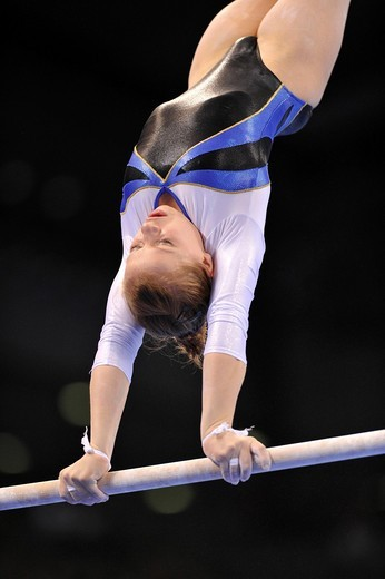 Yana Demyanchuk, Ukraine, on the uneven bars, EnBW Gymnastics World Cup from 12 _ 14.11.2010, 28th DTB_Cup, Stuttgart, Baden_Wuerttemberg, Germany, Europe : Stock Photo