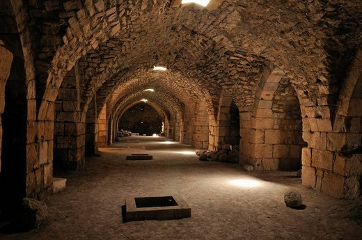 Vaulted stables in the Crusader fortress Crac, Krak des Chavaliers, Qalaat al Husn, Hisn, Syria, Middle East, West Asia : Stock Photo