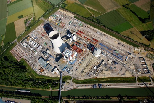 Stock Photo: 1848-534755 Aerial view, Datteln4 coal power plant of the EON energy corporation, building freeze, Dortmund_Ems canal, Recklinghausen, Ruhrgebiet area, North Rhine_Westphalia, Germany, Europe