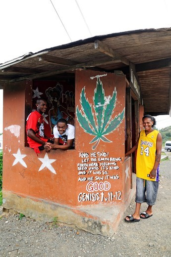 Locals at a wall with a painted on marijuana leaf, underneath it a Bible verse, Saint Vincent, Lesser Antilles, Caribbean : Stock Photo