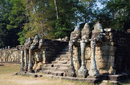 Sculptures at the Terrace of the Elephants, Temples of Angkor, Siem Reap, Cambodia, Indochina, Southeast Asia : Stock Photo