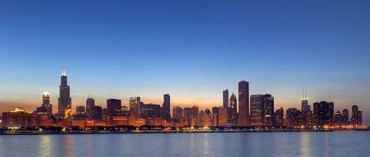 Stock Photo: 1848-534983 Panoramic photograph, evening mood, Willis Tower, formerly named Sears Tower and renamed in 2009, 311 South Wacker Drive skyscraper, John Hancock Center, Aon Center, Two Prudential Plaza, Trump Tower, skyline, Lake Michigan, Chicago, Illinois, United Stat