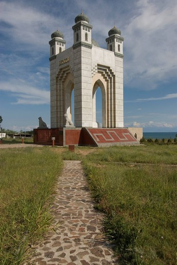 Monument in Cholpon Ata, Issy Koel, Kyrgyzstan, Central Asia : Stock Photo