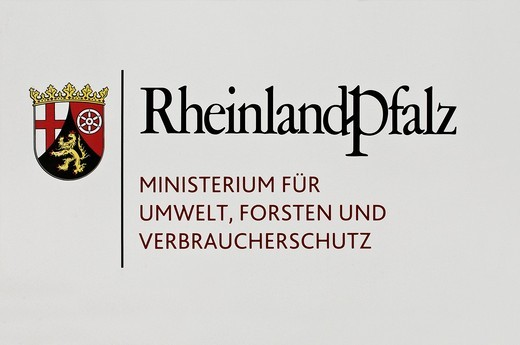 Sign with a coat of arms, Rhineland_Palatinate, Ministry for Environment, Forestry and Consumer Protection with Coat of Arms : Stock Photo