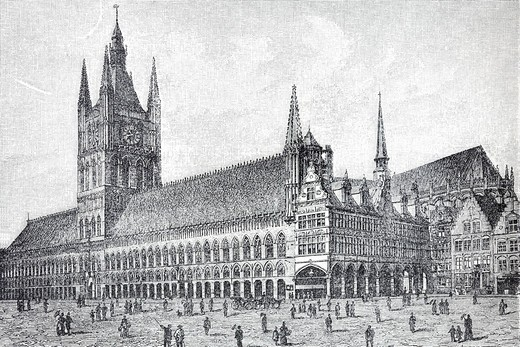 Gothic Cloth Hall, Ypres, Flanders, Belgium, historical book illustration from the 19th Century, steel engraving, Brockhaus Konversationslexikon, an encyclopaedia from 1908 : Stock Photo