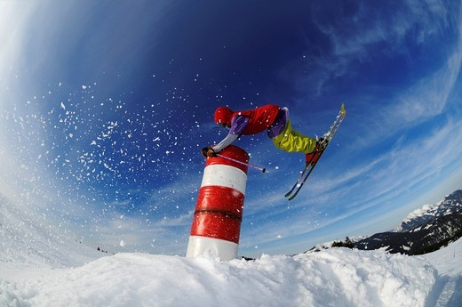 Skier, fun park, ski resort of Reit im Winkl, Chiemgau, Upper Bavaria, Germany, Europe : Stock Photo