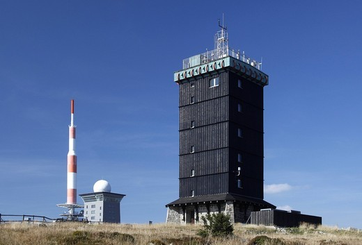 Brockenhaus, former Soviet listening post of the Ministry for State Security, East Germany, Stasi, Brocken, Harz, Saxony_Anhalt, Germany, Europe : Stock Photo