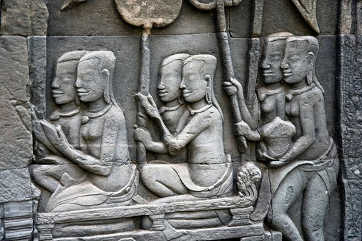 Relief at Angkor Wat, Cambodia, Southeast Asia : Stock Photo