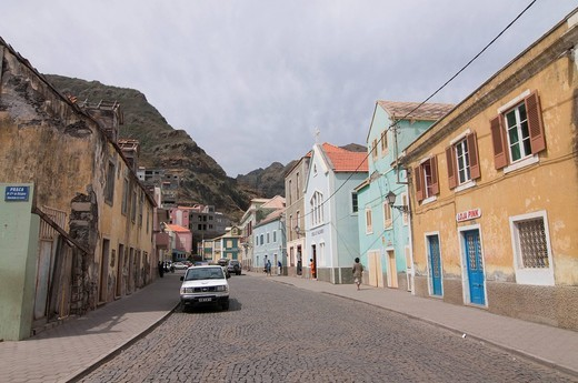 Street in the city of Ribeira Grande, San Antao, Cabo Verde, Cape Verde, Africa : Stock Photo