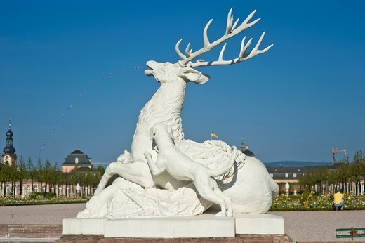 Schwetzingen Castle, castle garden, deer sculpture, Schwetzingen, Electoral Palatinate, Baden_Wuerttemberg, Germany, Europe : Stock Photo