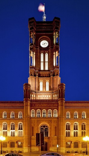 Rotes Rathaus, red town hall, Berlin_Mitte, Berlin, Germany, Europe : Stock Photo