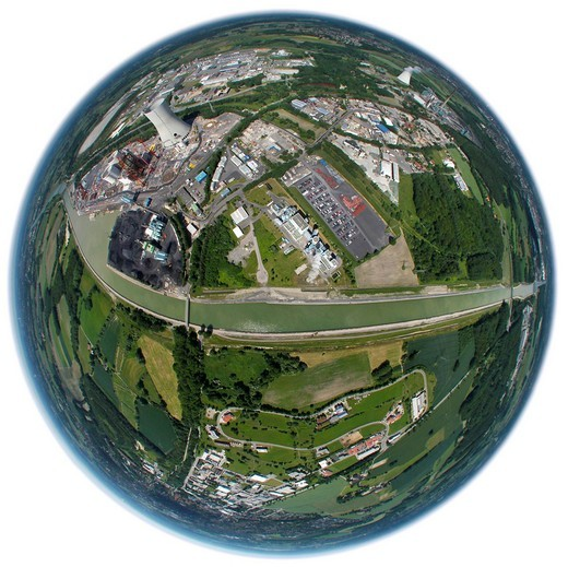 Stock Photo: 1848-535608 Aerial view, fisheye lens, Innovatherm plant, Trianel coal power plant, Stadthafen harbour, Datteln_Hamm canal, Luenen, Ruhrgebiet area, North Rhine_Westphalia, Germany, Europe