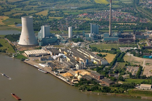 Aerial photo, new power plant, coal power plant of Evonik Steag, Duisburg Walsum, formerly Walsum coal mine, Norske Skog plant, Duisburg, Ruhr Area, North Rhine_Westphalia, Germany, Europe : Stock Photo