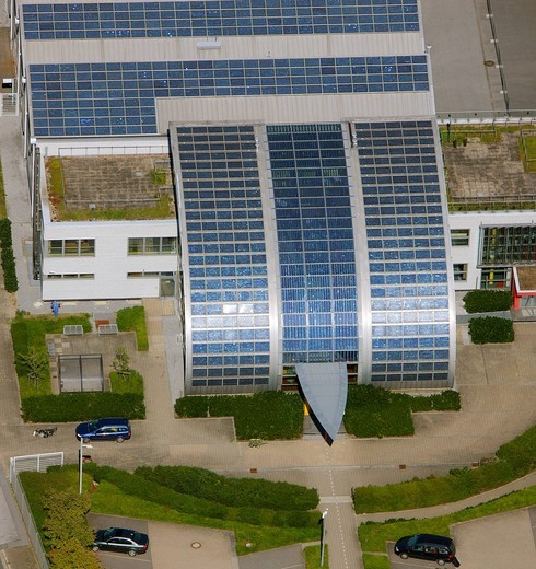 Aerial view, roof with solar panels, German branch office of Pilkington, Rotthausen district, Gelsenkirchen, Ruhr area, North Rhine_Westphalia, Germany, Europe : Stock Photo